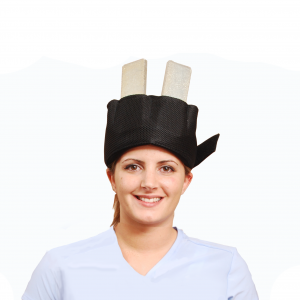 Headweight kit being worn by woman smiling